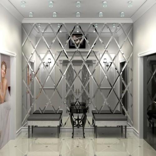 Зеркальное панно для коридора с фацетом