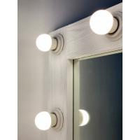 Гримерное зеркало настенное 90x70 белого цвета с фактурой дерева 14 ламп